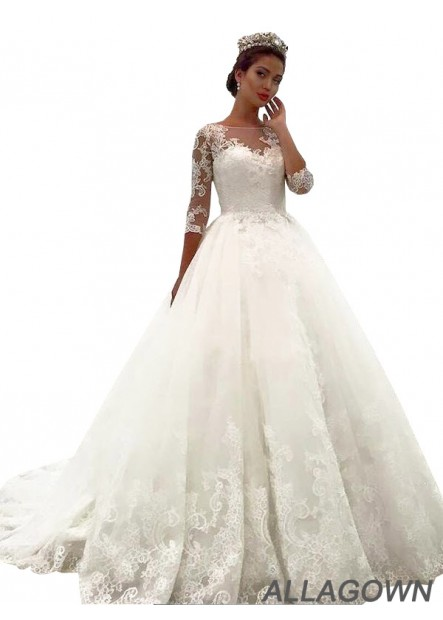Allagown 2021 Lace Ball Gowns Wedding Dresses Online