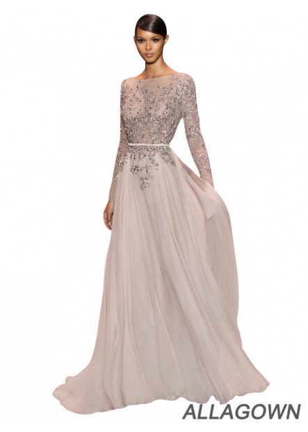 Allagown 2020 Long Sleeves Prom Evening Dresses For Sale