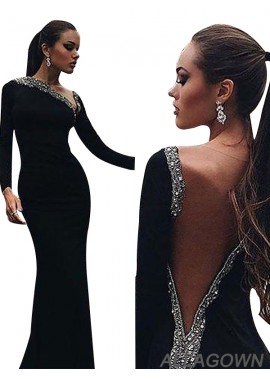 Allagown Black Long Sleeves Sheath Women Mermaid Formal Evening Dresses