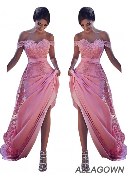 Long Cheap Prom Bridesmaid Dresses With Lace Flower