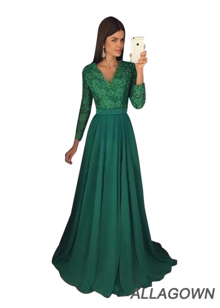 Allagown Long Sleeves With Beading Long Prom Evening Dress and Gowns