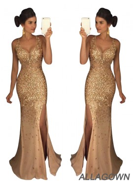 Allagown The Gold Long Prom Evening Dresses For Women 2021