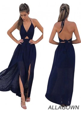 Allagown Backless Floor Length Halter Neck Prom Evening Dresses