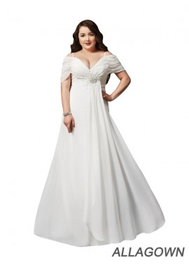 Allagown White Long Plus Size Prom Evening Dress