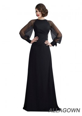 Allagown Black Long Sleeves With Scoop Neck Long Prom Evening Dresses