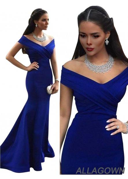 Allagown Royal Blue Mermaid Women 2021 Long Prom Evening Dress