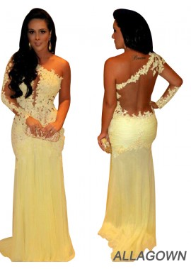 Allagown One Shoulder Lace Long Prom Evening Dresses