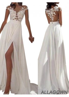 Allagown 2021 White Summer Beach Long Wedding Prom Dresses