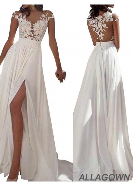 Allagown 2021 White Summer Beach Long Wedding Prom Dresses