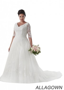 Allagown Plus Size Elegant Wedding Dresses With Train