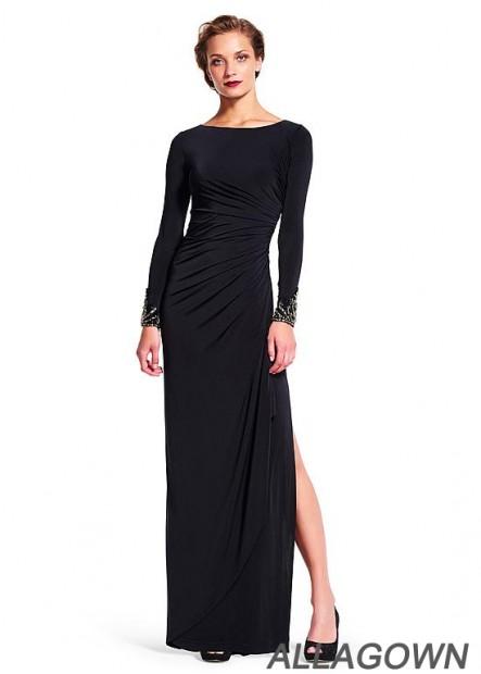 Black Long Sleeves Slit Mother Evening Dress For Sale