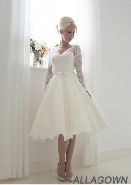 Allagown Short Lace Wedding Dress With Long Sleeves