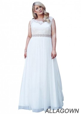 Allagown Plus Size Wedding Dresses With Beading Sash On The Waist