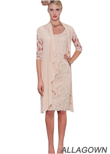 Allagown Short Mother Of The Bride Dresses With Sleeves 2021