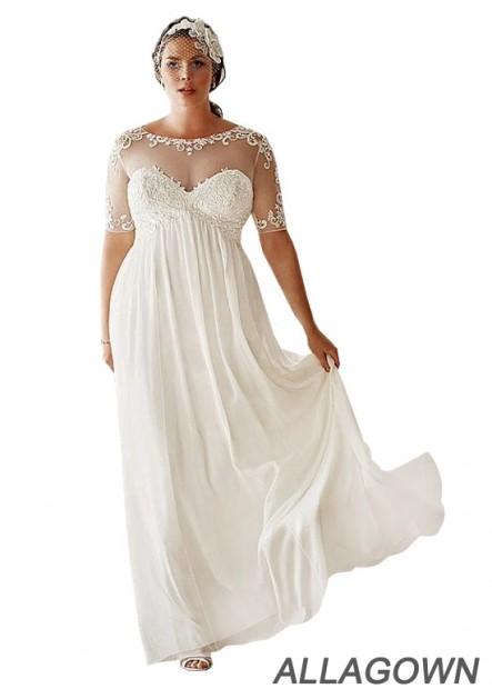 Allagown Simple Plus Size Wedding Dress