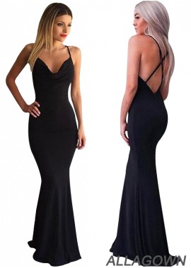 Allagown Black Mermaid Prom Dresses Fast Shipping