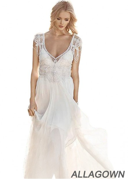 Allagown 2021 Beach Wedding Dresses With Beading