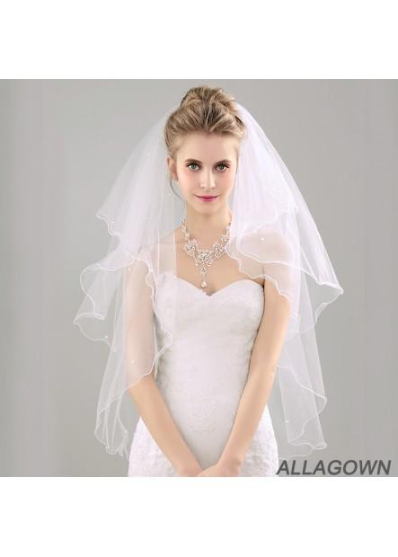 Rolled bridal wedding dress wedding veil piping with black metal hair comb Wedding Veil